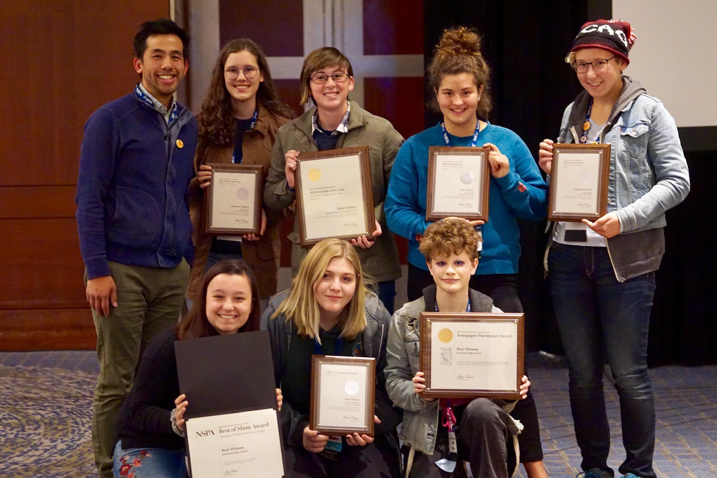 Bear Witness journalists holding their Pacemaker Award