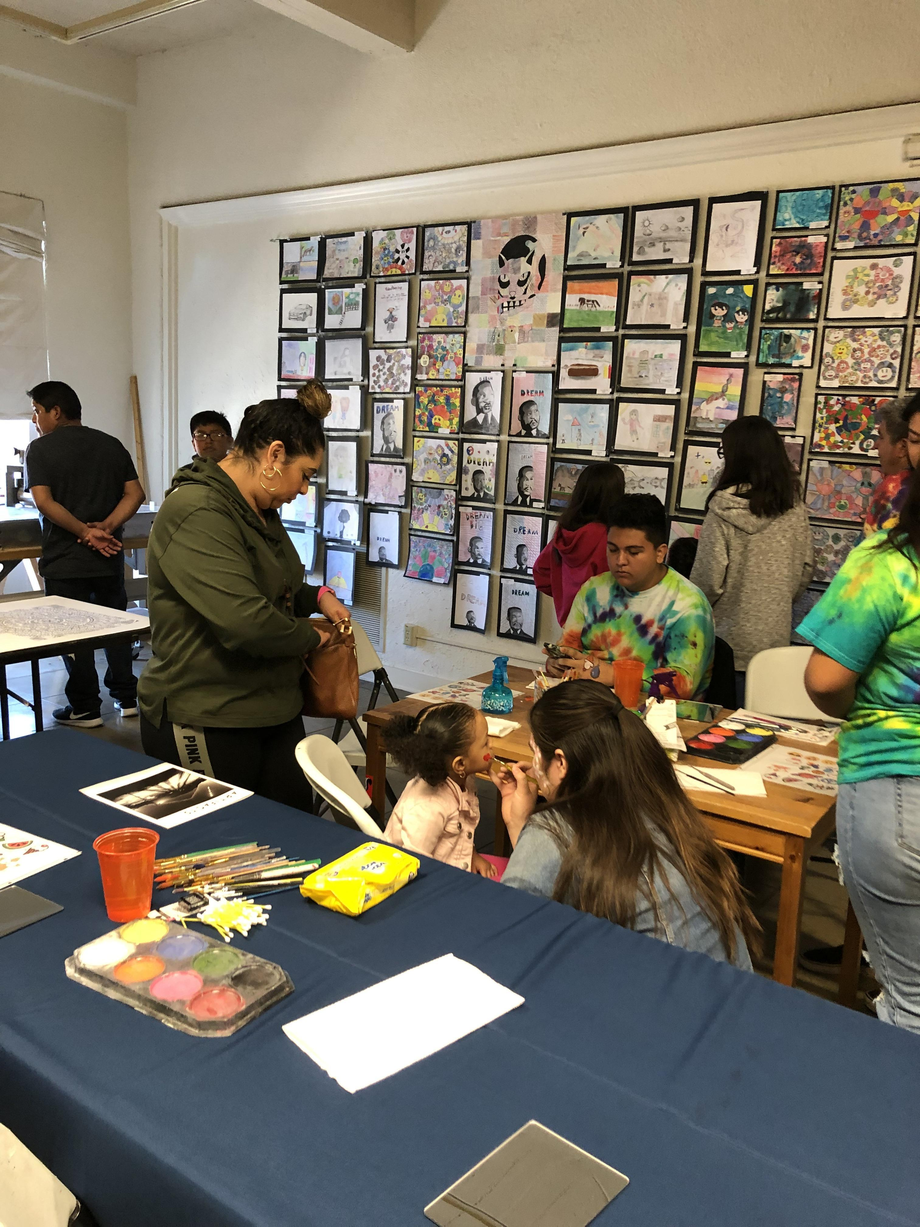 Parents and students at the Art Show