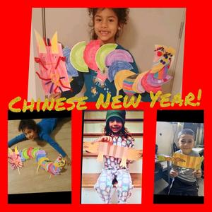 Students with dragon puppets collage