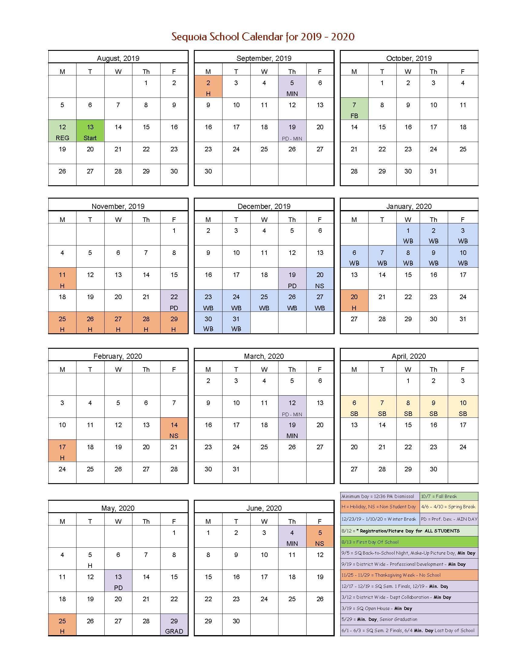 School Year Calendar 2019-20