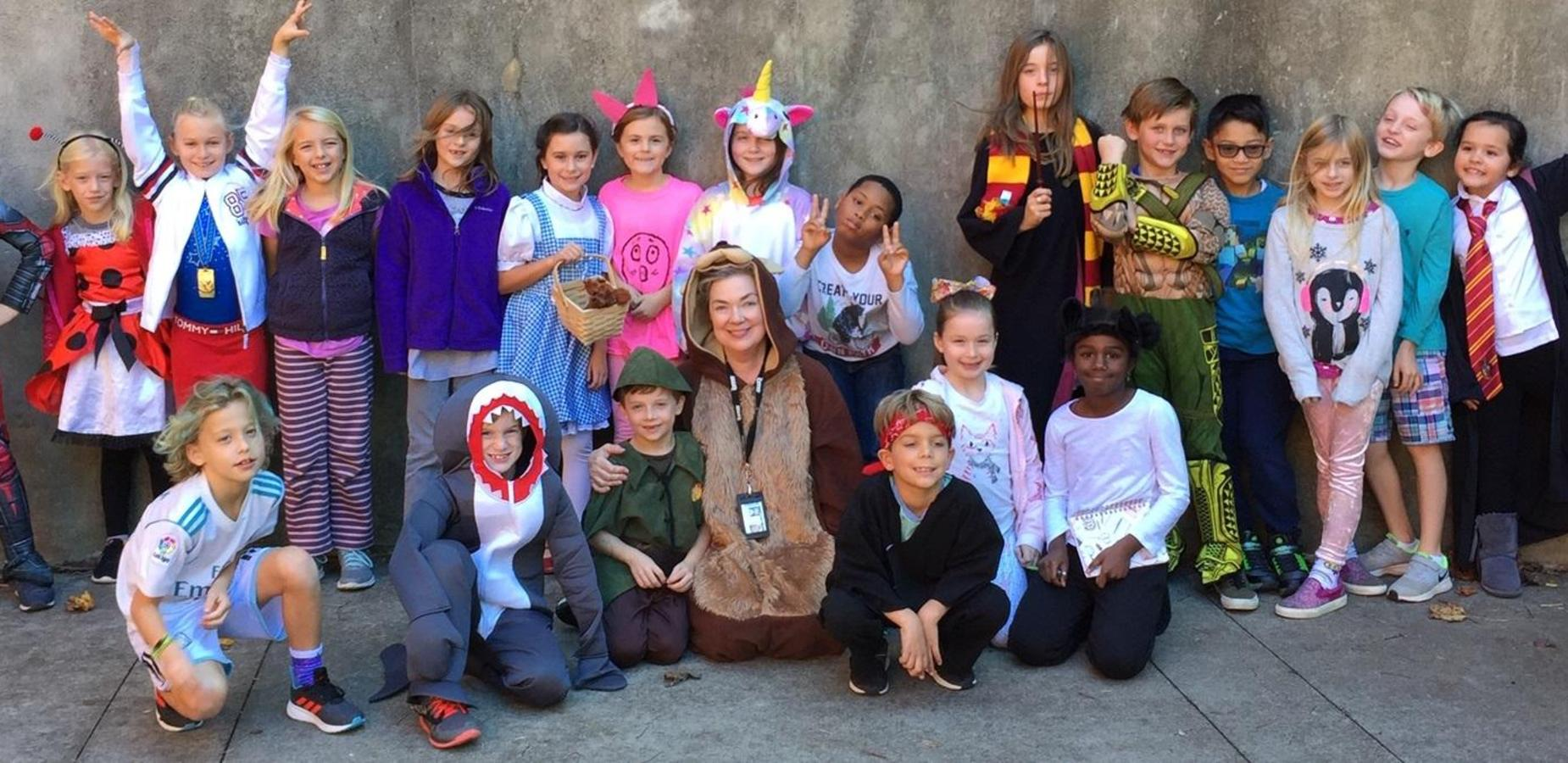 Students dressed up for book character day