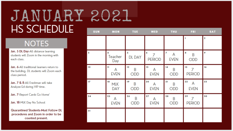 High School Schedule for 3rd Quarter Thumbnail Image