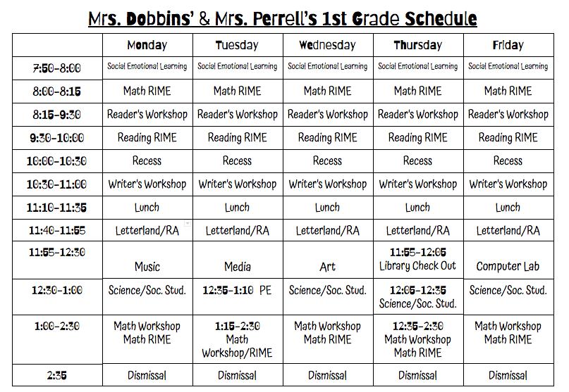 Classroom Schedule – Mrs  Dobbins Rebekah Dobbins – Midway