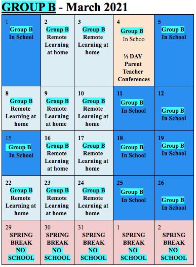 Cohort B March 2021 calendar