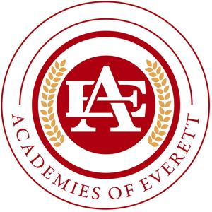 Academies of Everett logo, with red circles, semicircle leafs design, and interlocking E and A