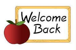 Welcome Back sign with apple