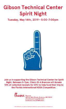 flyer for dinner at Chick-Fil-A