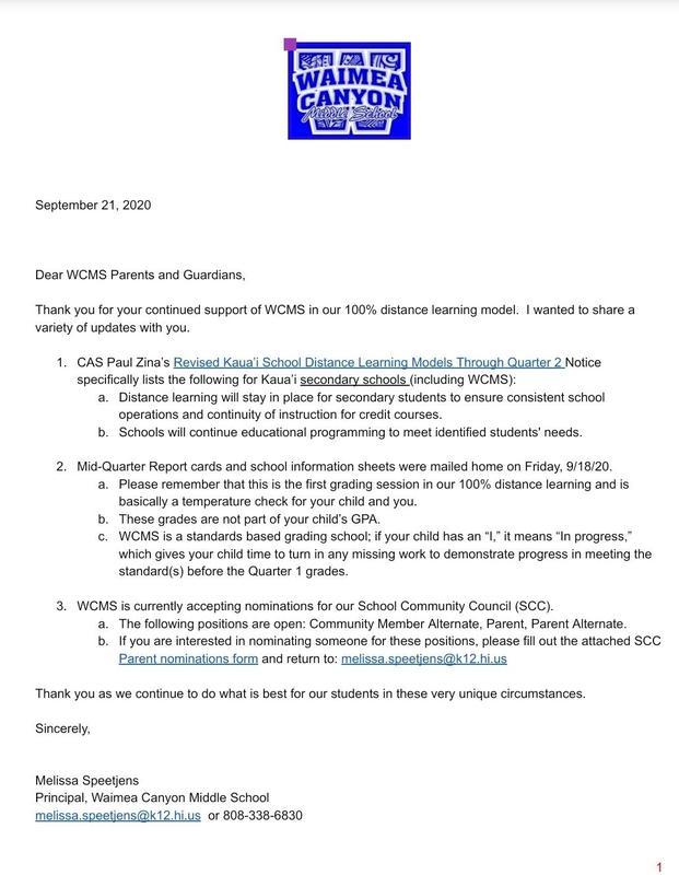 20.21 Parent Letter - 2nd Qtr Announcement/SCC 9-18-20 Thumbnail Image