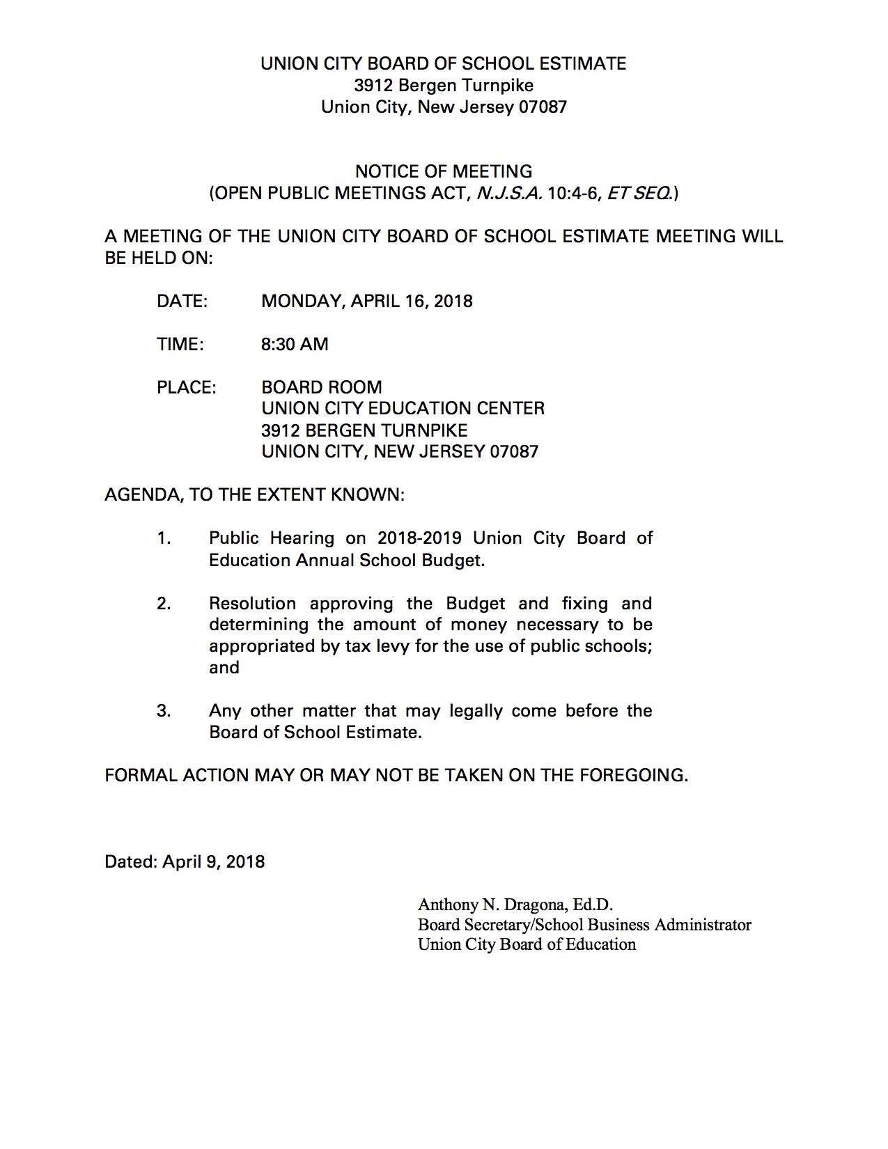 Board of School estimate april 16th meeting