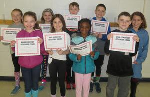 Fourth-grade students were honored after being elected by their classmates to receive