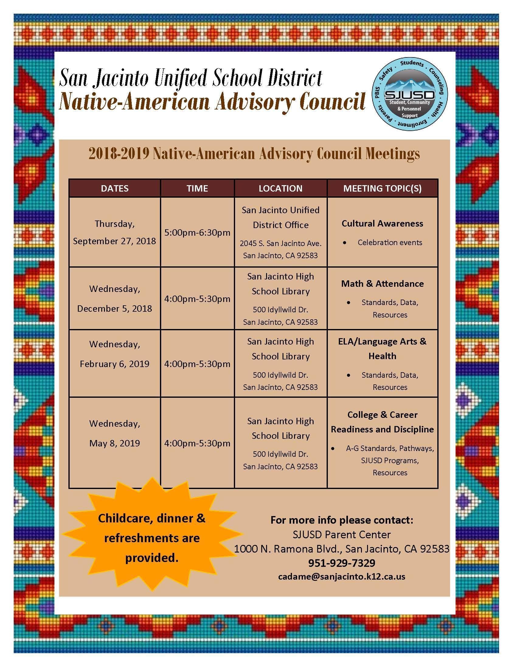 Native American Advisory Council Dates 2018