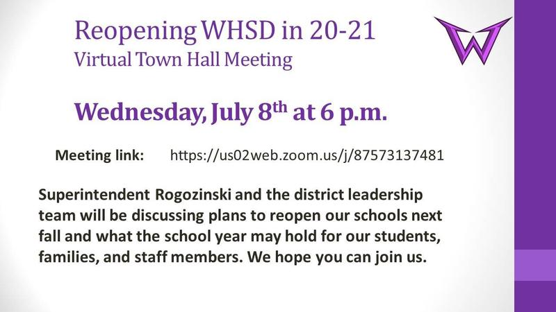 Virtual Town Hall Meeting - Reopening WHSD in  2020-21 Featured Photo