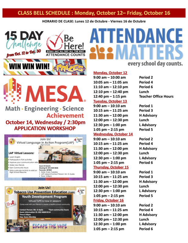 Class Bell Schedule : October 12 - 16, 2020 Featured Photo