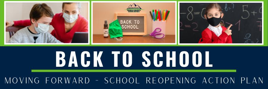 image of wording back to school reopening plan