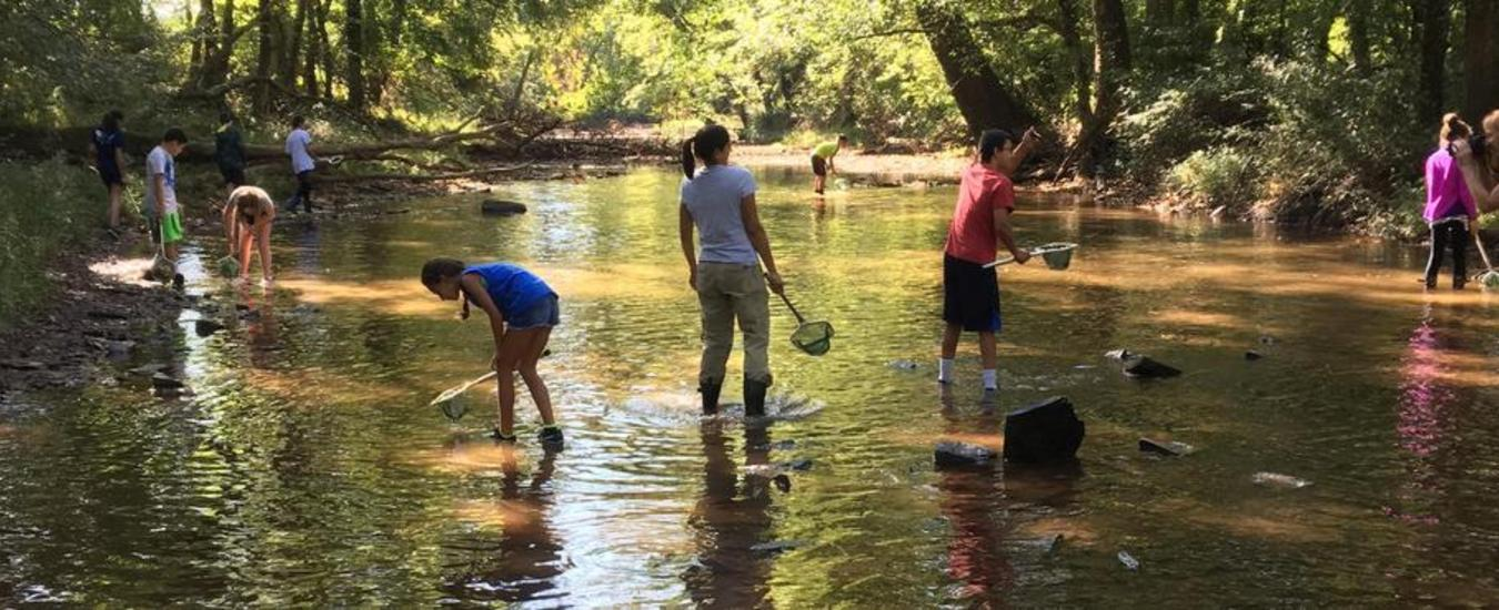6th grade students in stream at Stony Brook Watershed