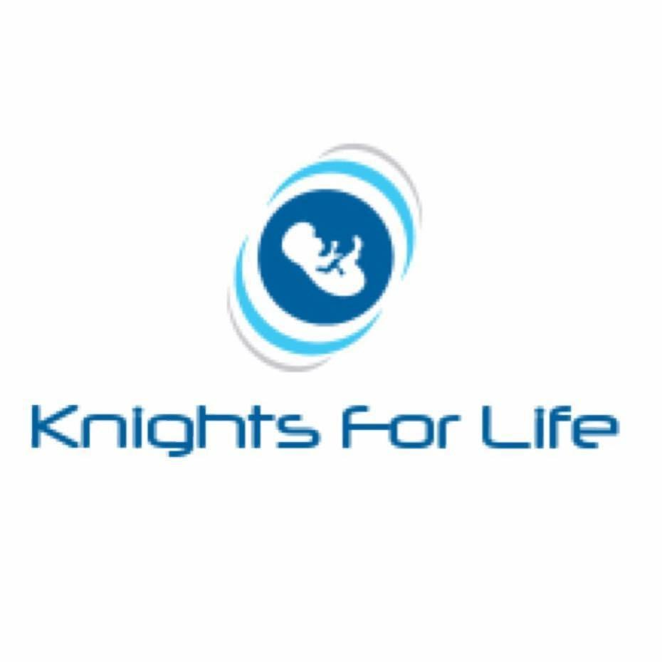 a blue circle with a white baby in the center.  Underneath reads 'Knights for Life'