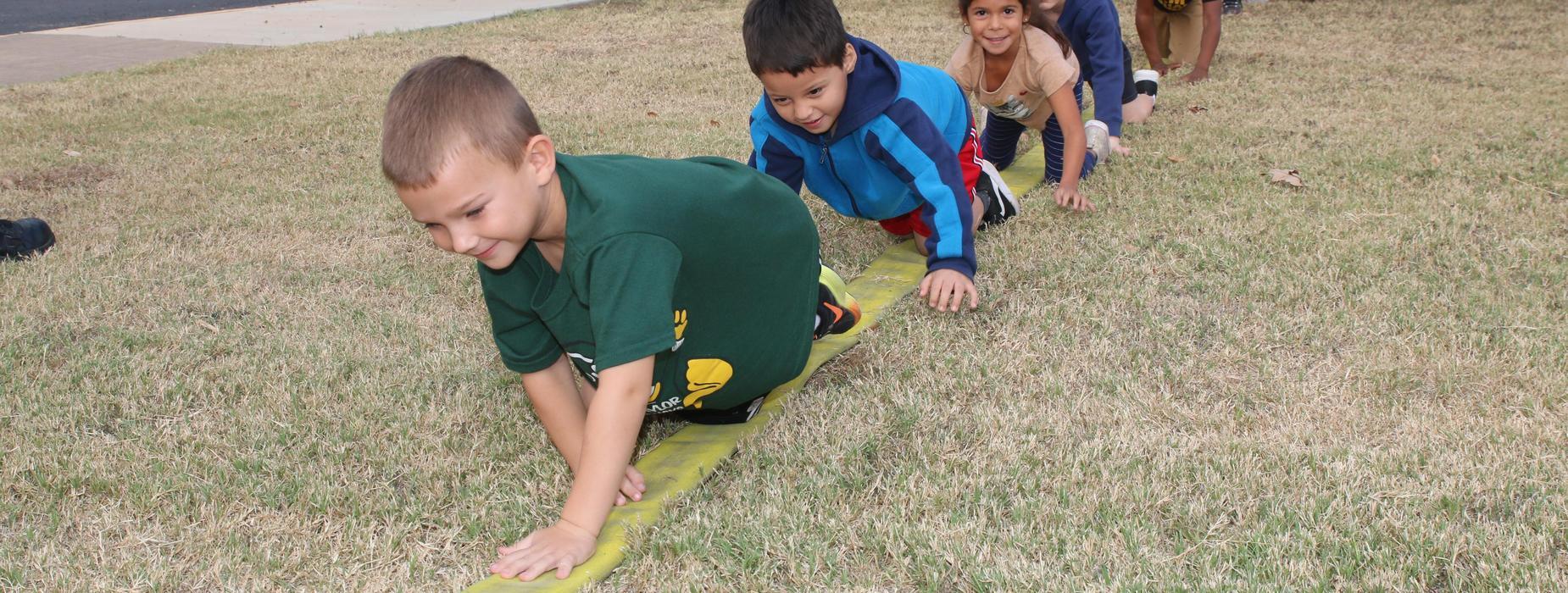 Students crawling