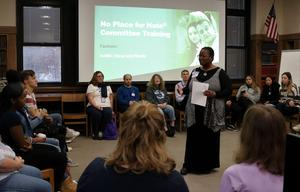 "Rhetta Morgan, a facilitator for the Anti-Defamation's ""No Place for Hate"" Program, provides a training session on Nov. 27 for an advisory committee of WHS students, staff and parents."