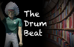 Drum Beat logo of the Indian mascot and books on shelves