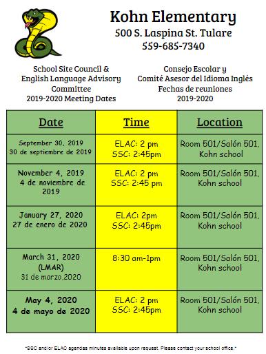 SSC/ELAC Schedule