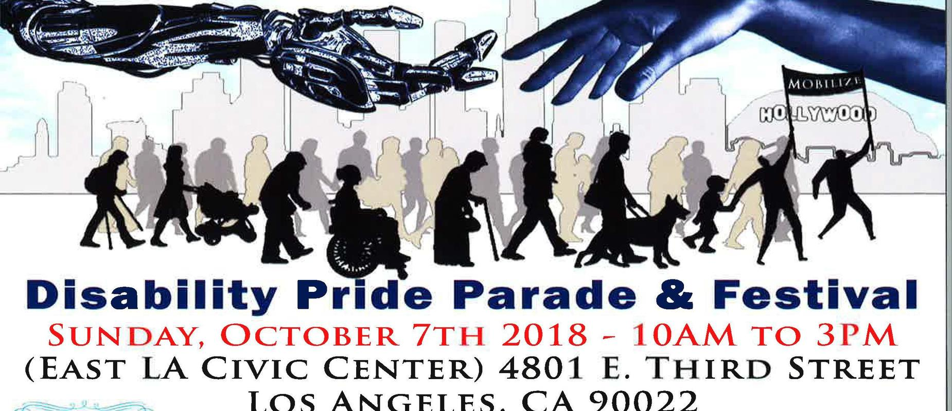 Save the date postcard for Disability Pride Parade and Festival on October 7, 2018 at the East LA Civic Center. Postcard displays silhouette of people marching in a parade( English Version).
