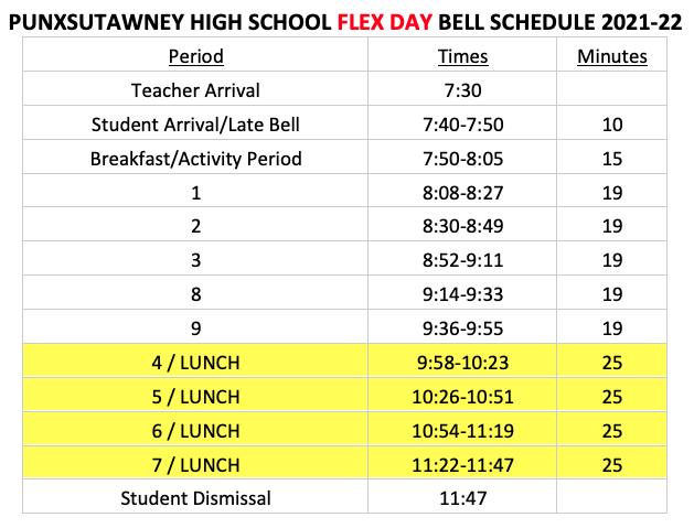 2021-22 PAHS Flex Day Schedule