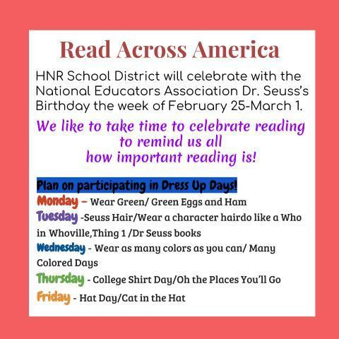 Read Across America - DR. SEUSS WEEK - Feb. 25 - March 1st Featured Photo