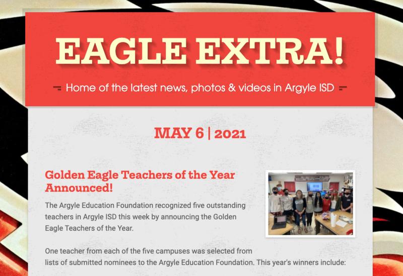 Argyle ISD Eagle Extra: Thursday, May 6, 2021 Thumbnail Image