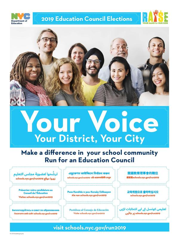 Poster for the elections of the community and citywide education councils.