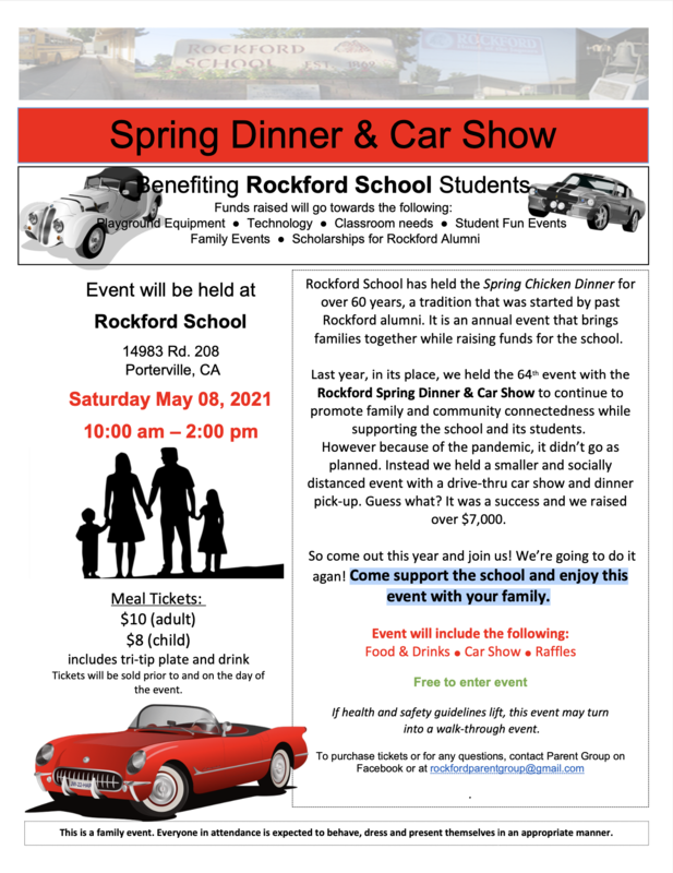 2021 Spring Dinner and Car Show Flyer
