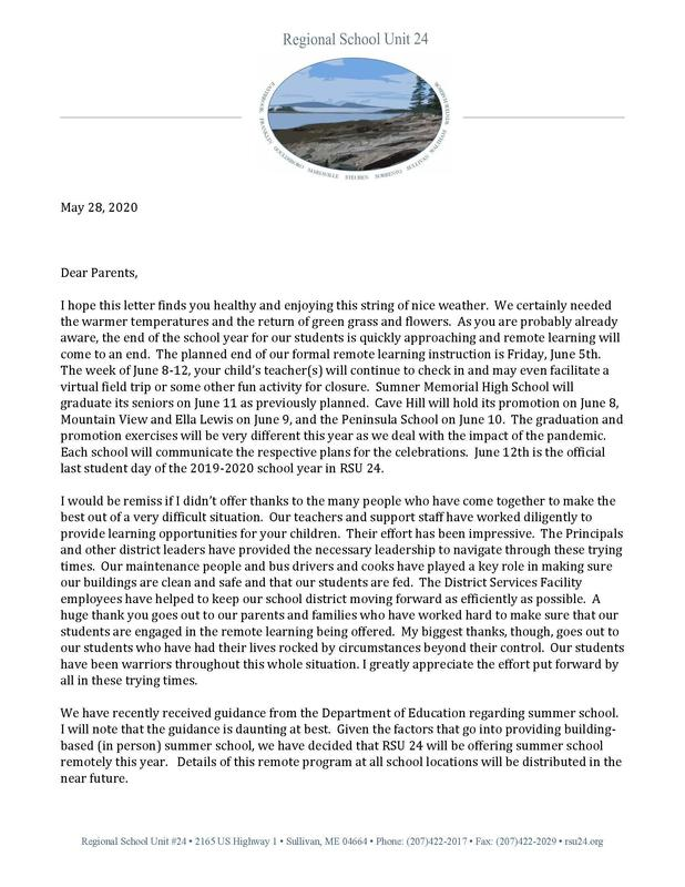 May 28, 2020 Letter to District Parents from Superintendent Eastman (two pages - click this title to read in full) Featured Photo