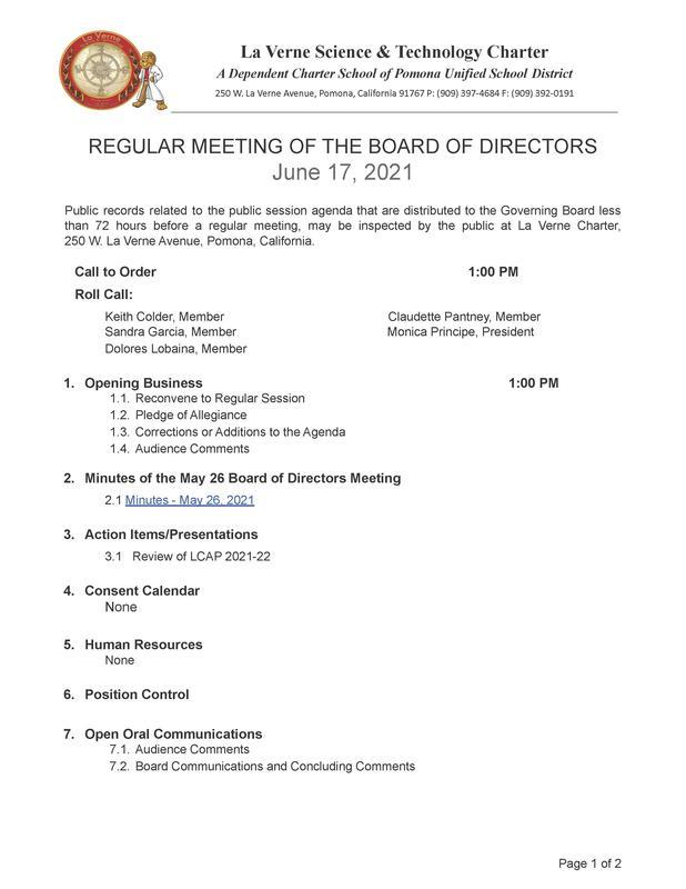 La Verne Charter LCAP Board Agenda - June 17, 2021