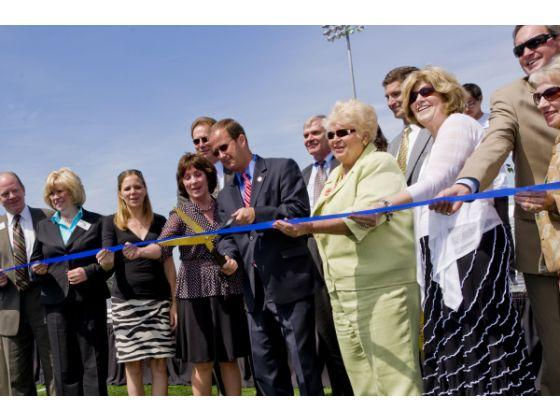 Shapell Stadium dedication ceremony. Ribbon cutting