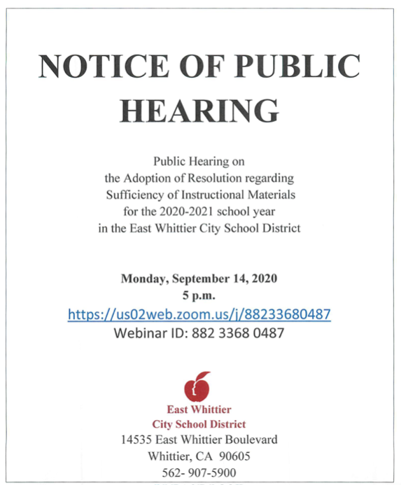 Screenshot of the Notice of Public Hearing for September 14, 2020