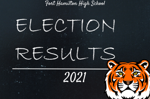 Fort Hamilton High School Election Results 2021. On a black chalkboard with white chalk and the FHHS tiger head