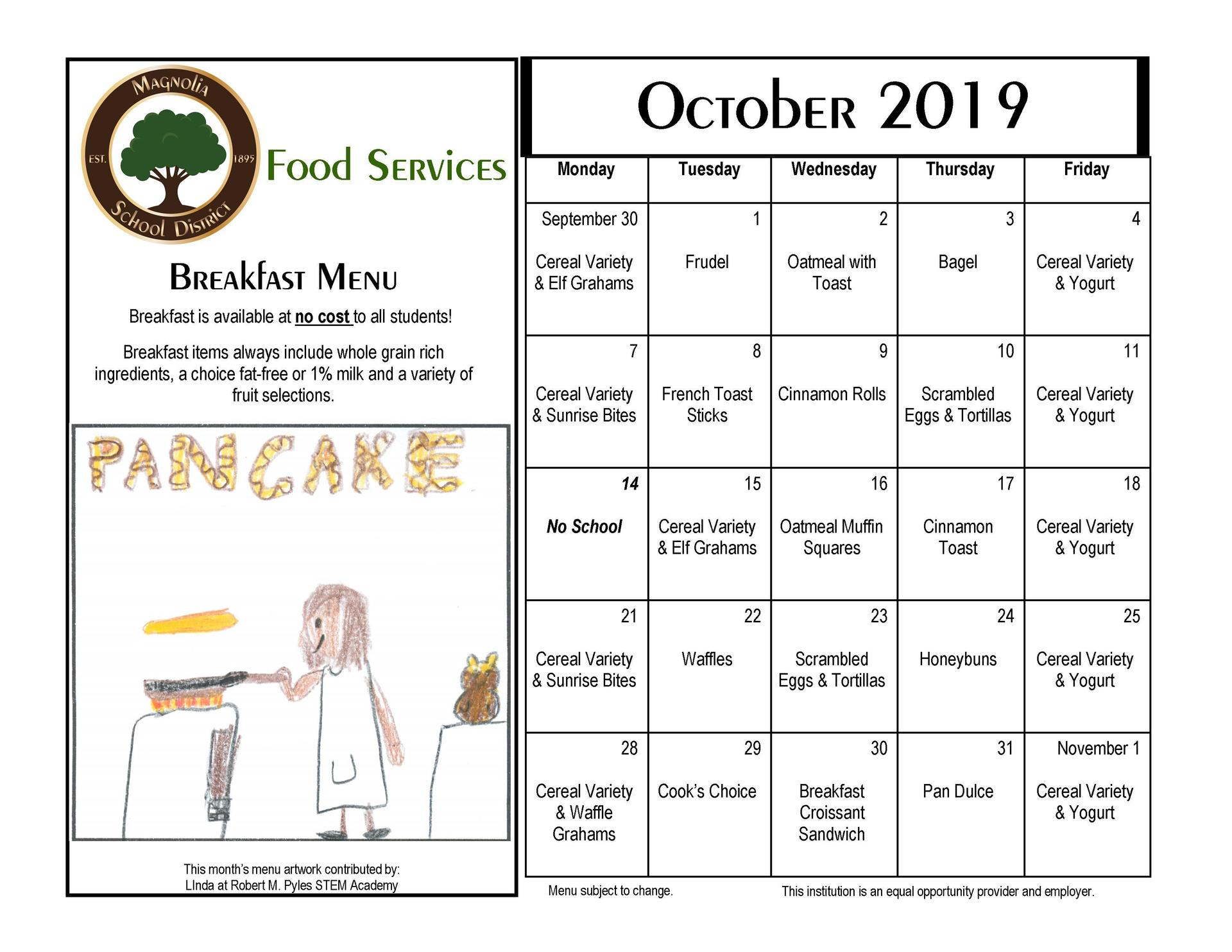 October Breakfast Menu