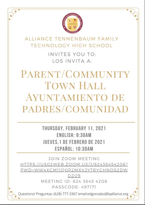 Parent-Community Town Hall/ Reunión del Ayuntamiento de Padres Y Comunidad Thumbnail Image
