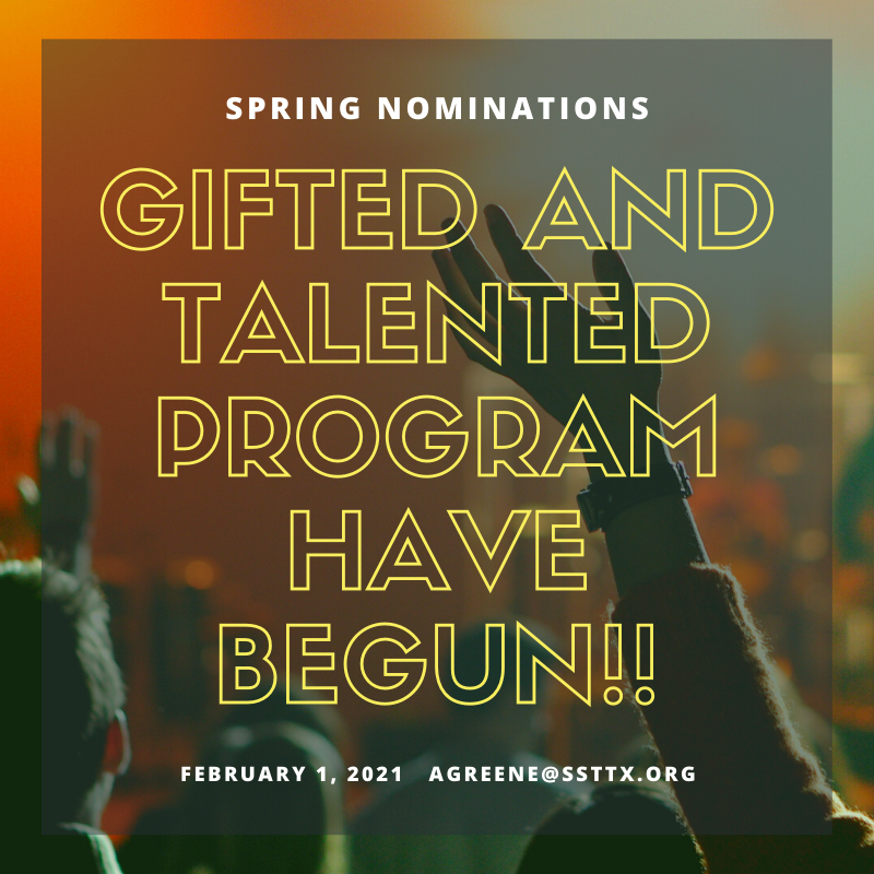 Spring nominations for our Gifted and Talented Program have begun!! Featured Photo
