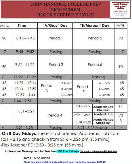 SY 22 Bell Schedule