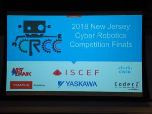 Computer screen shot of the 2018 NJ Cyber Robotics Coding Competition Finals announcement.