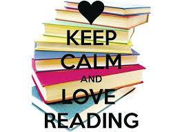 stack of books with the slogan Keep Calm and Love Reading