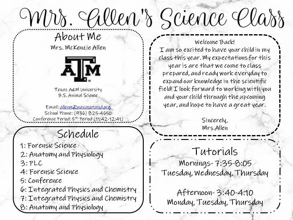 Mrs Allens Science Classes Mckenzie Allen Navasota High School