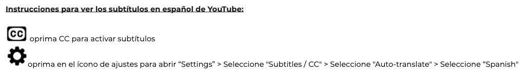 Instrucciones para ver los subtítulos en español de YouTube