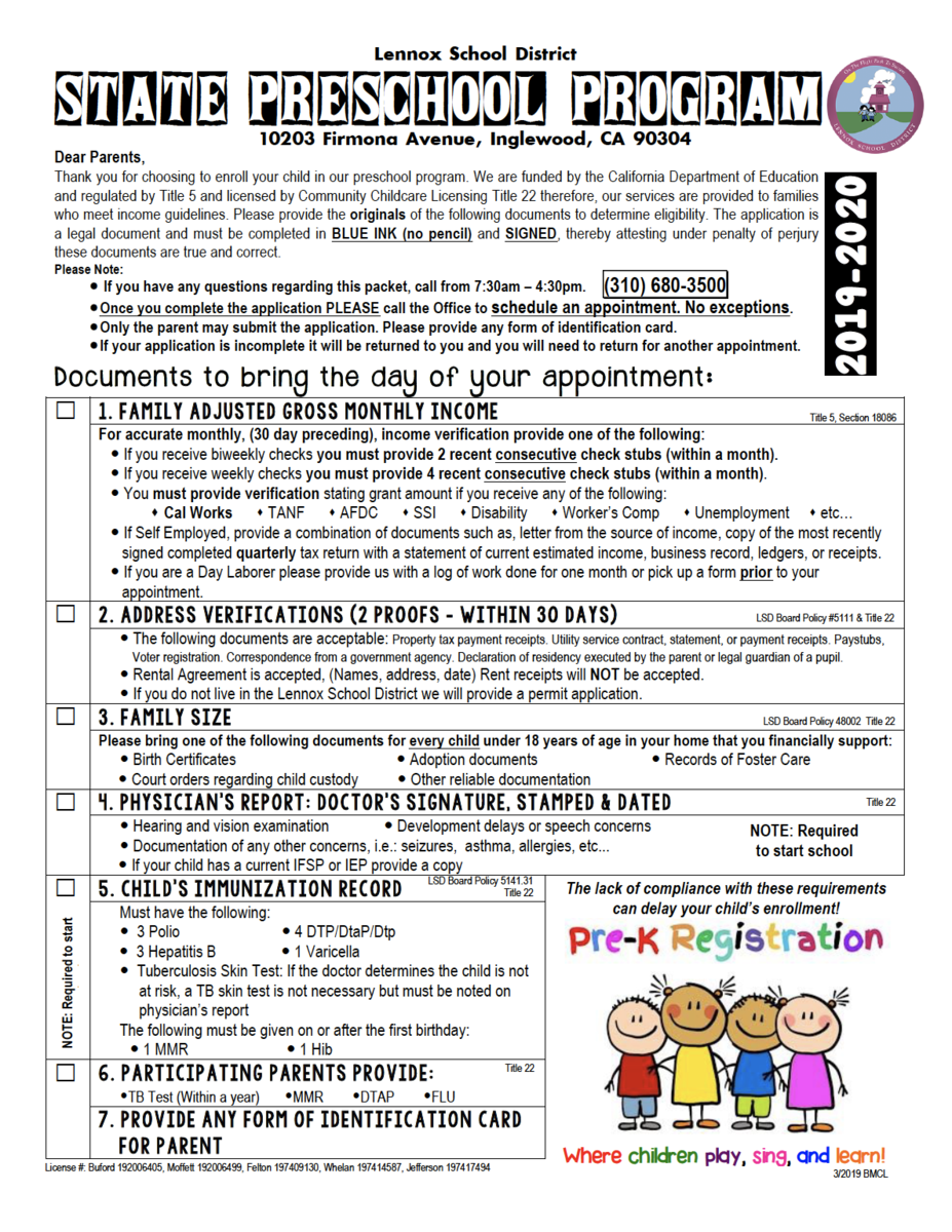 PreSchool application english