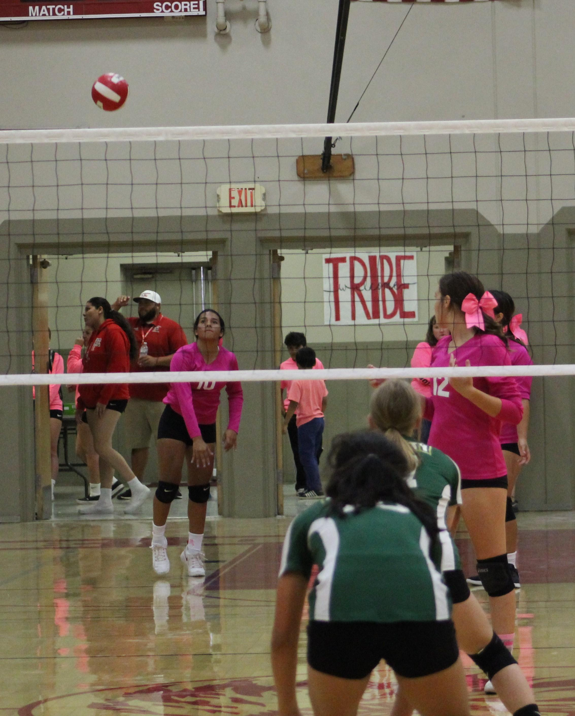 JV girls playing Volleyball against Liberty