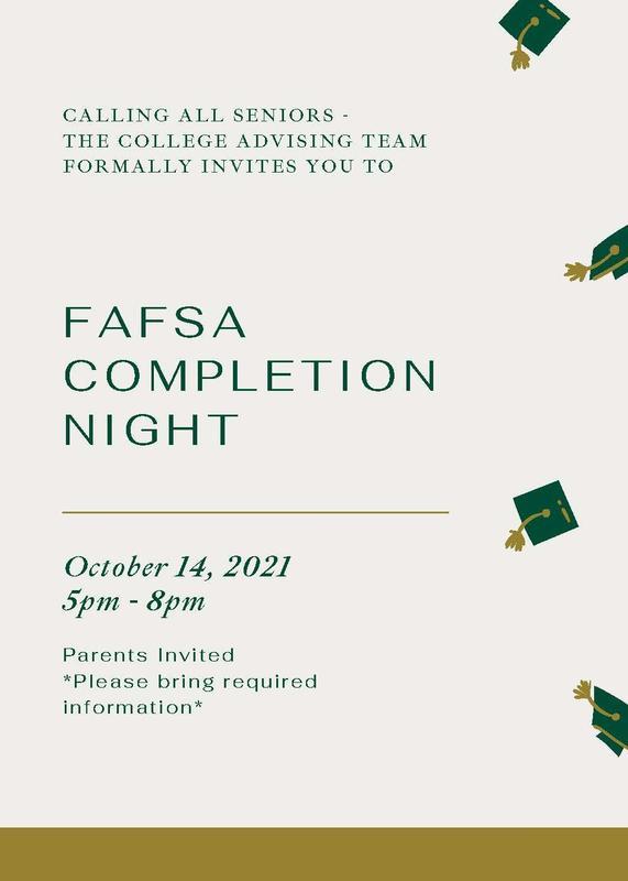 FAFSA Night Oct. 14, 2021 5-8pm