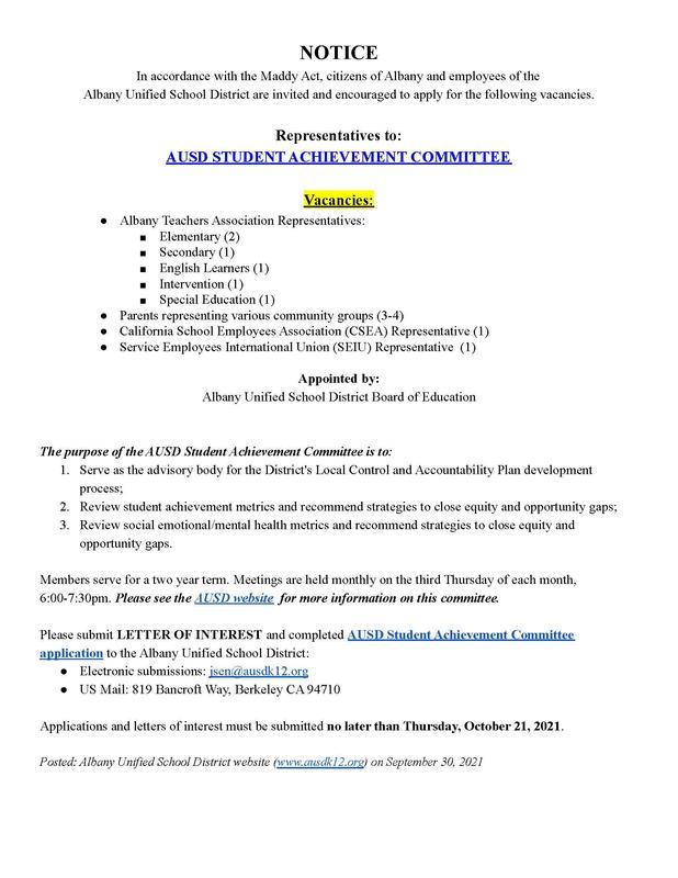 SAC Maddy Act Notice 9.30.21