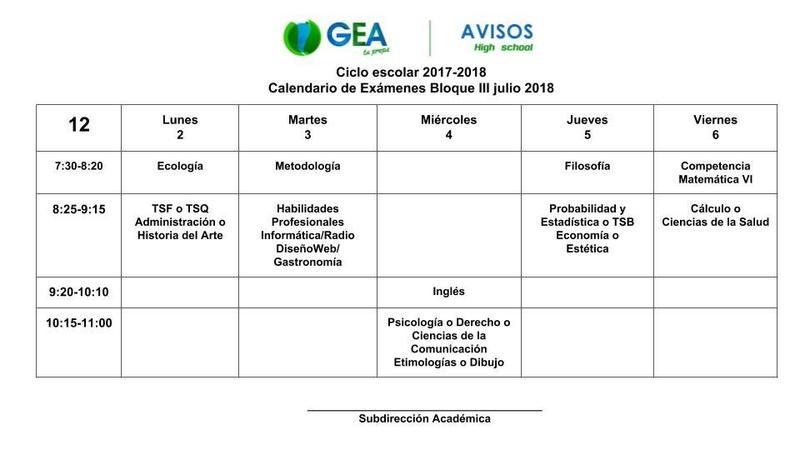 Grupos de Doceavo, Calendario de exámenes Bloque III (finales) Thumbnail Image