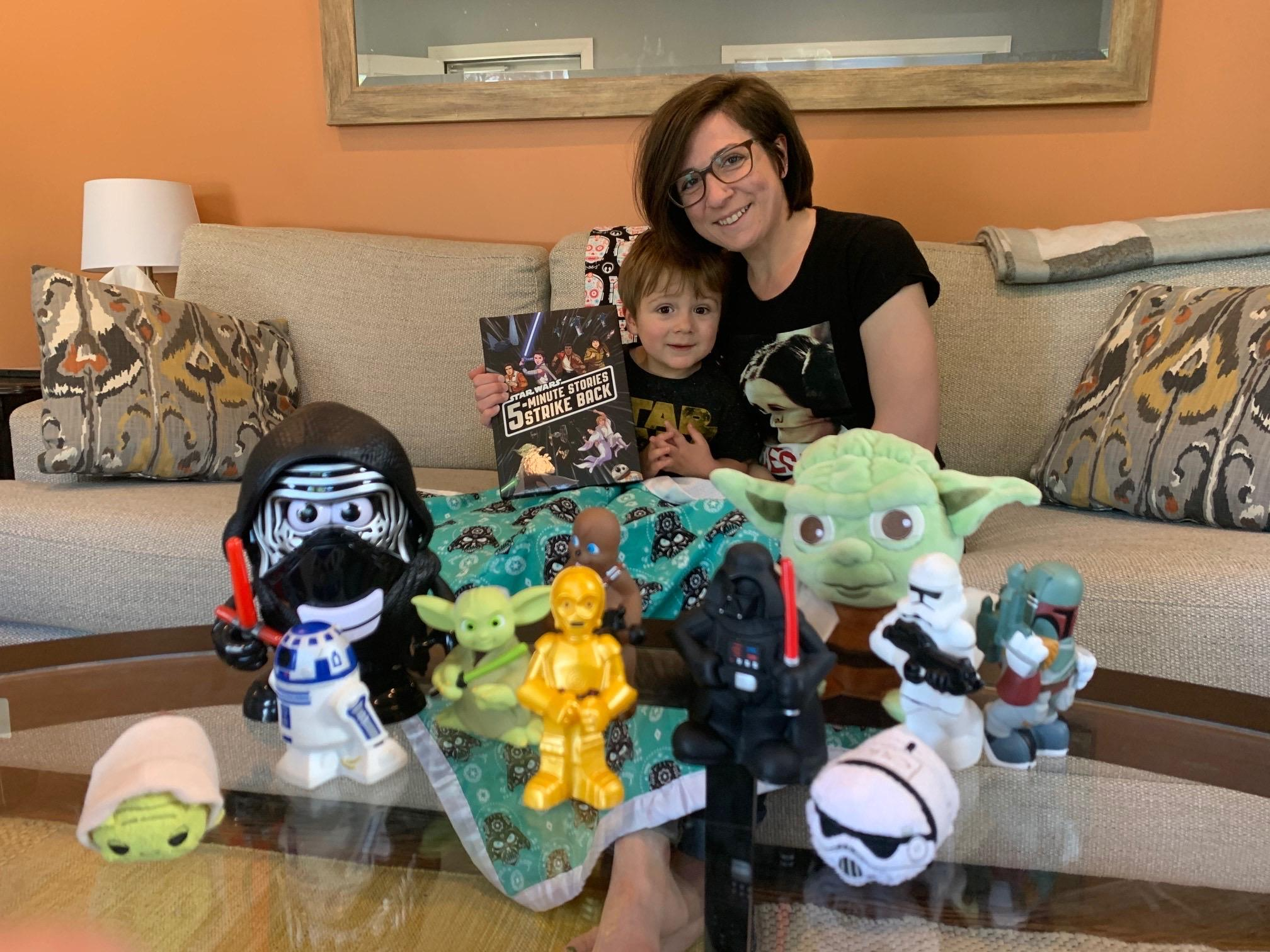 Mom with son and Star War things