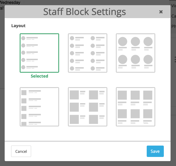 Screenshot of Staff Block Settings modal